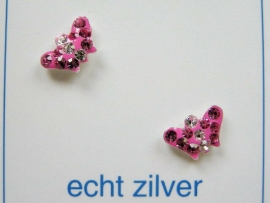 Fijne strass vlinder oorknopjes zilver