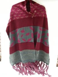 Lange roze/grijze sjaal met gouddraad en hartjes