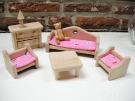 Houten poppenhuis zithoek bank/stoel/kast