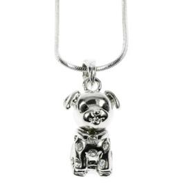 Hondjes hanger aan zilverkleurige ketting