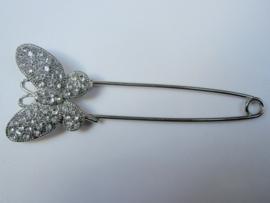 Vlinder sierspeld zilverkleur met naturel strass