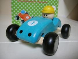 Houten Formule 1 swing auto blauw.