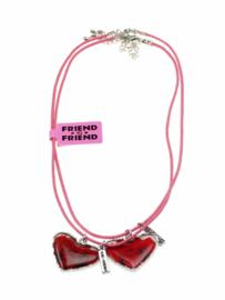 Rozen hartjes hangers aan Best Friends kettingen set