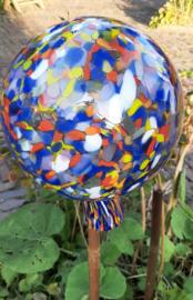 Mondgeblazen heksenbol 20 cm doorsnee met vrolijke kleuren mooie mondgeblazen