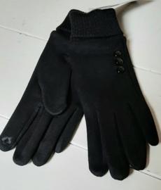 Zwarte handschoenen met lange boorden.