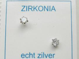 Zilveren zirkonia oorknopjes 3 mm naturel