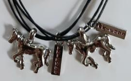 Paarden Best Friends set met zwarte veter kettingen