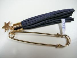 Goudkleurige speld 7,5 cm met d.blauw kwastje en sterretje