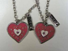 2 Best Friend hartjes roze hangers + 2 kettingen