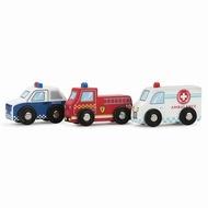3 delige set houten auto's brandweer/politie en ambulance