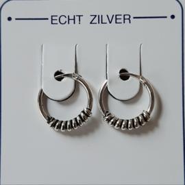 Oorringetjes 12 mm zilver bewerkt