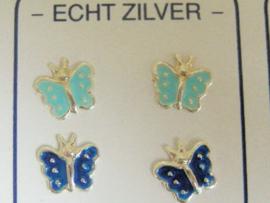 2 paar zilveren vlinder oorknopjes licht en marine blauw