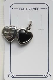 Medaillon hartje zilver met onyx steen voor mini fotootje