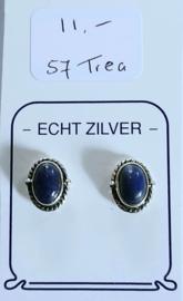 Lapis Lazuli blauwe oorknopjes  zilver.