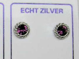 Fijne oorknopjes zilver met paars steentje