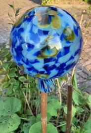 Heksenbollen mondgeblazen kobalt blauw en brons 15 cm doorsnee