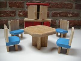Eetkamer set voor poppenhuis van hout