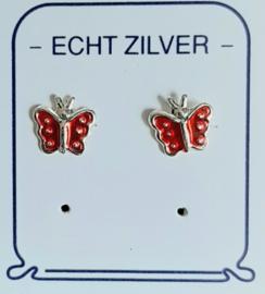 Vlinder oorknopjes zilver in de kleur blauw