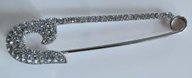 Grote zilverkleurige strass speld 9 cm