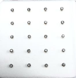 Zilveren neuspiercings naturel strass 1,5 mm met bolletje