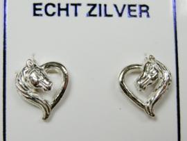 Paarden hartjes oorknopjes zilver  Nieuw!