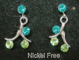 Swarovski oorbellen blauw/groen hangend