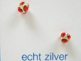 Fijne strass ronde oorknopjes zilver 3 mm