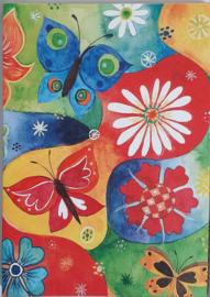 Vrolijke wenskaarten vlinders met bloemen in cadeaudoos