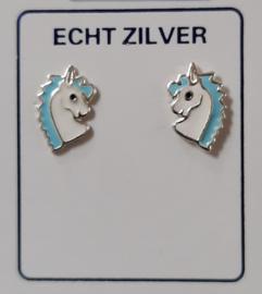 Eenhoorn oorknopjes zilver blauw/wit