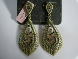lime geel/groene hangende oorbellen met strass