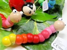 Houten elastische worm roze/rood/geel 10 mnd