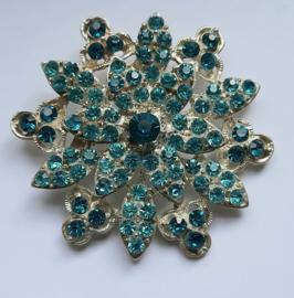 Blauwe strass broche 6 cm doorsnee