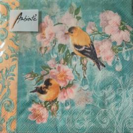 Vogels en bloemen servetten 25 x 25 cm