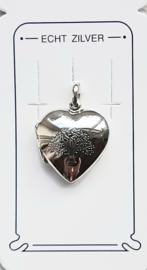 medaillon hanger hartje met levensboom zilver