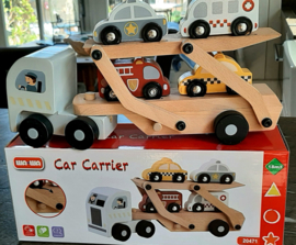 Houten oplegger met 4 auto's stoer cadeau!