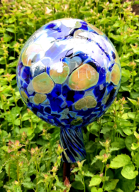 Kobalt blauwe mond geblazen heksenbol van glas 12 cm