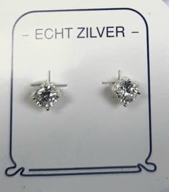 Zirkonia oorknopjes 4 mm doorsnee zilver