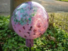 Mond geblazen Heksen bollen van glas paars/turquise 12 cm doorsnee