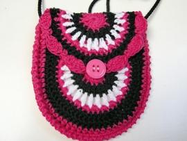 Gehaakt tasje/portemonnee roze/wit/zwart