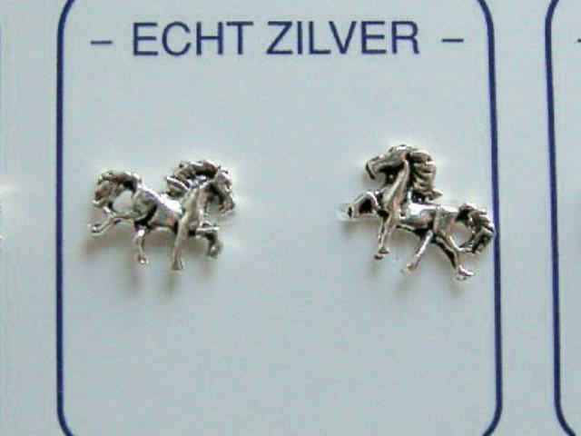 Paarden/pony oorknopjes zilver