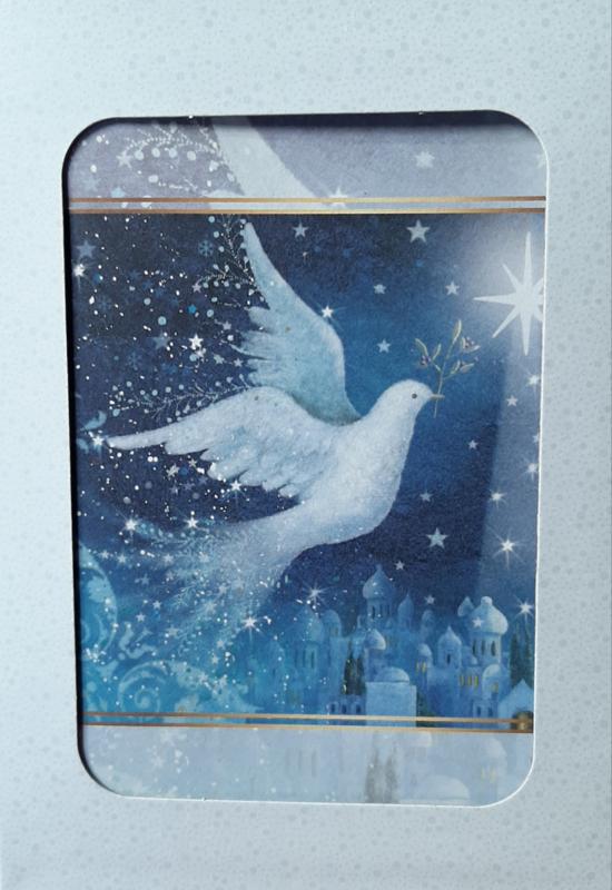 Kerstkaarten 10 stuks in doos vredes duif met ster
