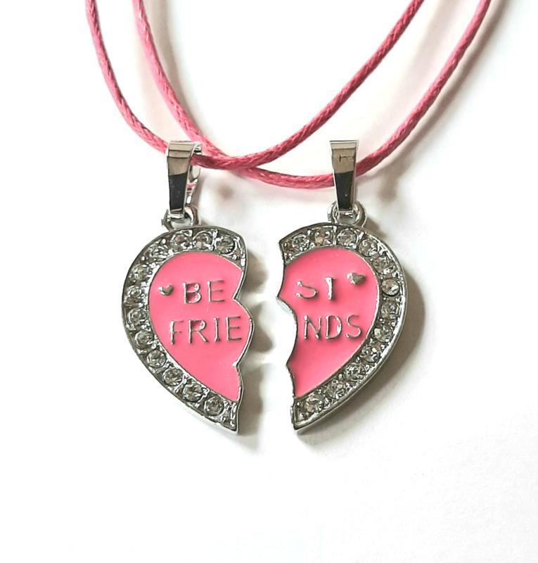 Best Friends kettingen set roze hart met strass