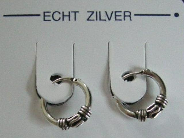 oorringetjes bewerkt 10 mm doorsnee zilver