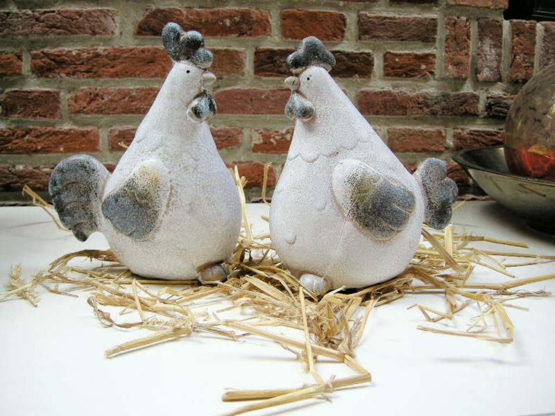 Kip en Haan aardewerk in wit/grijs en blauw
