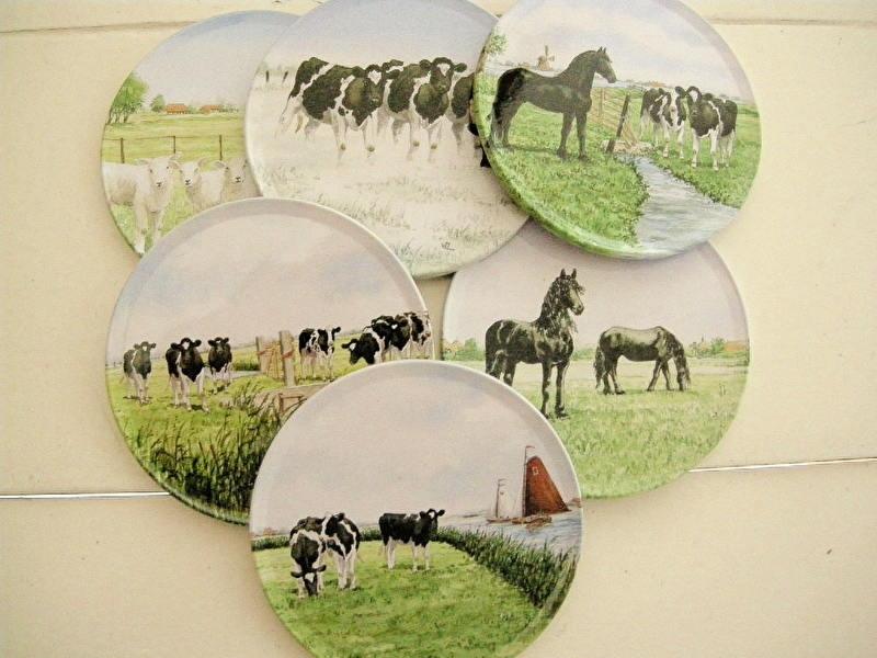Set van 6 onderzetters koeien en paarden Wiebe vd Zee