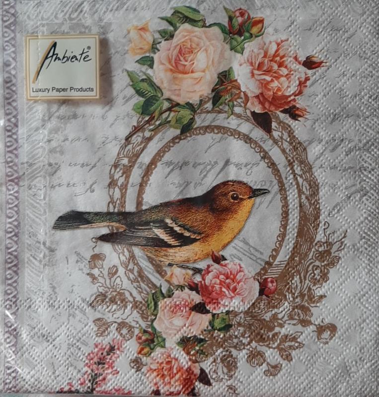 Vogel / rozen servetten 33x 33 cm Ambiente