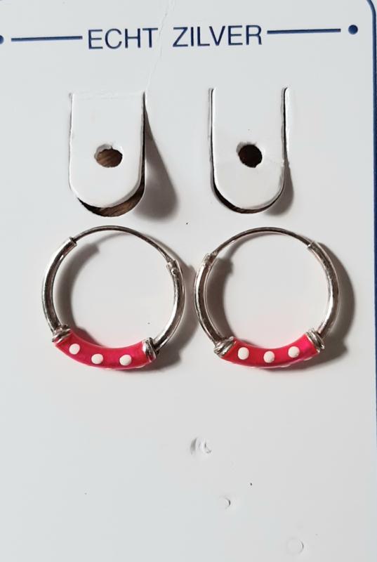 Zilveren oorringen 14 mm roze met wit stipjes