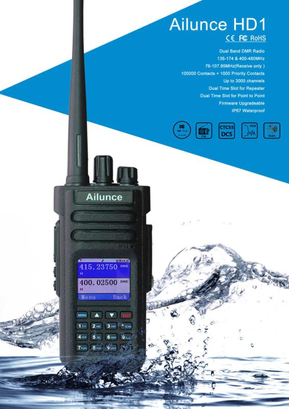 Retevis Ailunce HD1 DMR/Analoog vhf/uhf dualband portofoon gratis GPS
