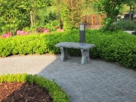 Granieten tuinbank licht gebogen model Grijs