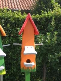 Vogelhuisje 74 - 3 Oranje Rood